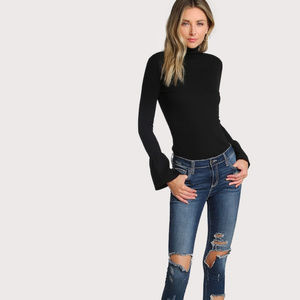 BOUTIQUE Black Bell Cuff Knit Top